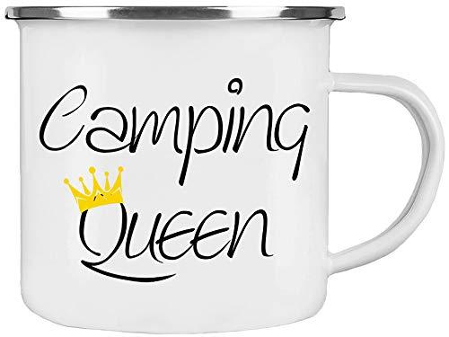 Cadouri Camping Emaille Tasse » Camping Queen « Kaffeetasse Campingbecher Outdoortasse - 300 ml