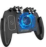 popman Mobile Game Controller with Cooling Fan 4 Trigger for PUBG/Call of Duty/Fotnite [6 Finger Operation] L1R1 L2R2 Gaming Grip Gamepad Mobile Controller Trigger for 4.7-6.5' iOS Android Phone