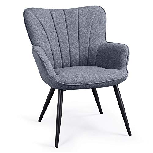 YAHEETECH Ergonomic Accent Chair Armchair Living Room Chair Upholstered Side Chair Leisures Chairs Curved Wing Back Chair Metal Legs Linen Fabric Chair Grey