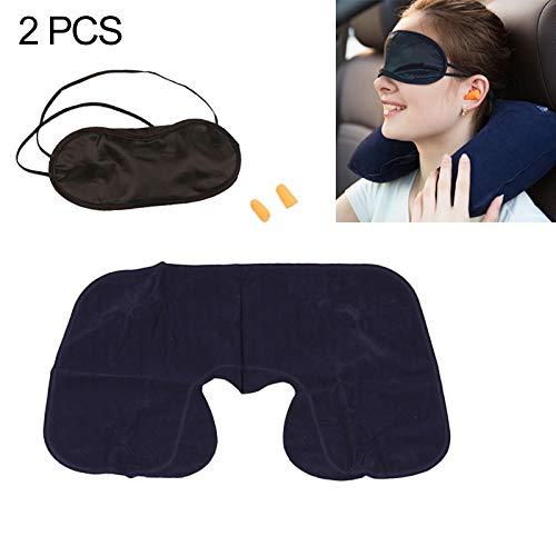 Blindfold JRC 2 PCS 3 in 1 Outdoor-Reisen PVC Beflockung aufblasbare U-Kissen & Car Travel Schall Earbuds & Verdunklungsplissee Set, zufällige Farbe Lieferung Schlafmaske für Männer und Frauen