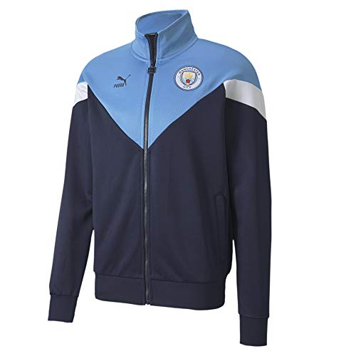 PUMA MCFC Iconic MCS Track Jkt, Giacca Tuta Uomo, Peacoat/Team Light Blue, S