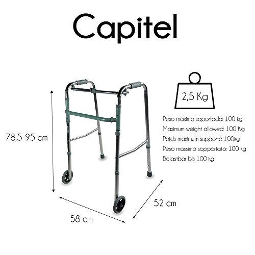 41hsb3gOYAL - Mobiclinic, Modelo Capitel, Andador para mayores, ancianos, adultos o minusvalidos, de aluminio, ligero, plegable, con asiento y 2 ruedas, Color Gris