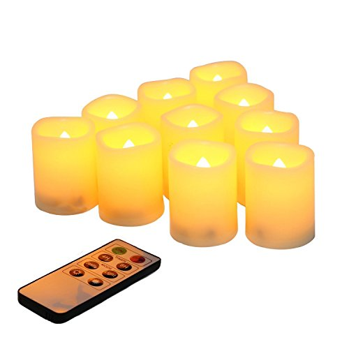 Led Flickering Flameless Votive Tea Lights Candles With Remote Control Battery Operated Set Of 10 / Electric Outdoor Tealights Timer Candle For Christmas,Xmas Decorations (Batteries Included) 200Hours