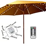 Patio Umbrella Lights 8 Lighting Mode 104 LED String Lights with Remote Control Umbrella Lights Battery Operated Waterproof Outdoor Lighting for Patio Umbrellas Outdoor Use Camping Tents Warm White
