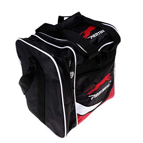 SM SunniMix Leichte Single Bowling Ball Tote Bag Aufbewahrungstasche Mit Zwei Seitentaschen - Schwarz + Rot