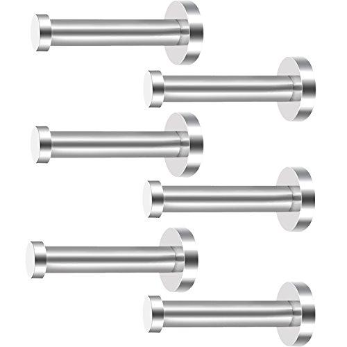 eBoot 6 Stück Wandhaken aus Rostfreiem Stahl, Kleiderhaken, Wandhaken, Nickel, Gebürstetes Nickel (Silber, 4 Zoll)