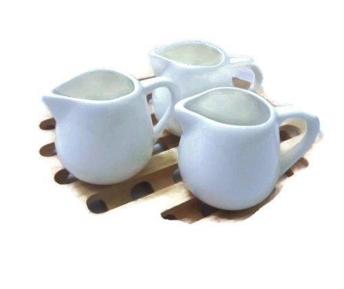 Set of 3 Mini 1.5 Oz White Pot Cream Sugar Milk Mini Bowls Sauce Ceramic Glossy Food Drinking By amazingmarketonline