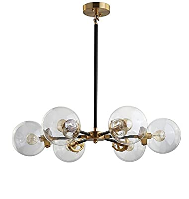 "28"" Brass Cluster Pendant, Black/Brass Gold, Modern, 6 Lights + Bulbs"