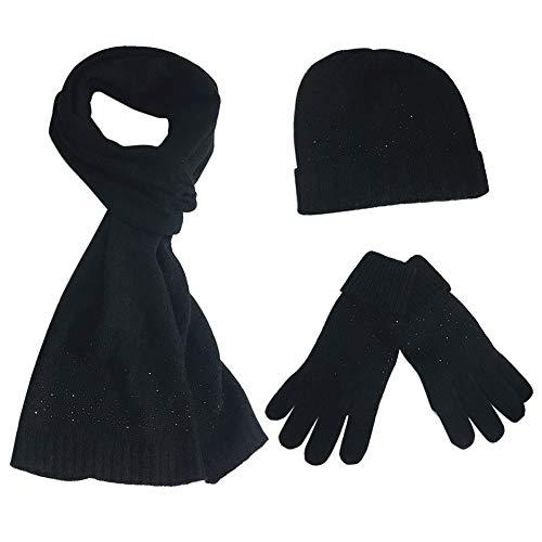 FEOYA Damen Winter Warme Gestrickt Mütze Schal Handschuhe Weich Strickset Wollmütze Geschenkset