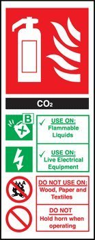 Perfect veiligheidstekens brandblusser teken - CO2 (koolstofdioxide) (zelfklevende Vinyl / 82x202mm)