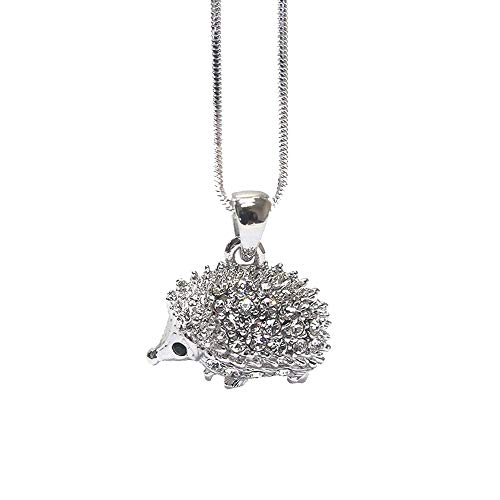 Crystal Hedgehog Fashion Necklace with Gift Box (Silver-Tone)