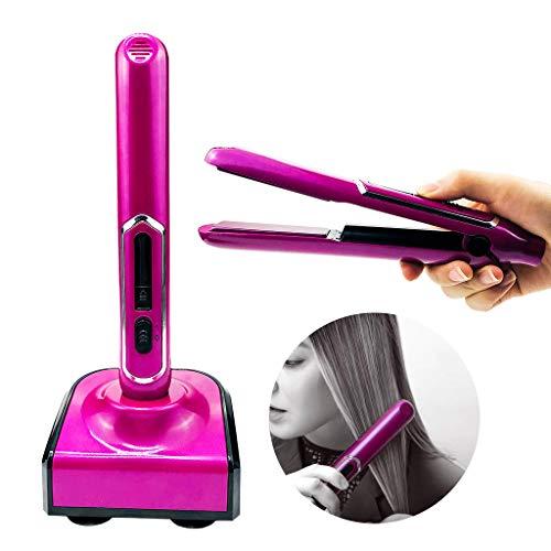 Hongfa Portable Kabellos USB Mini Haarglätter Flache Lockenwickler Glätteisen, LCD Anzeige Schnellaufheizzeit Dual-Spannung,Keramik Platte Haarglätter Tragbar für Reise.