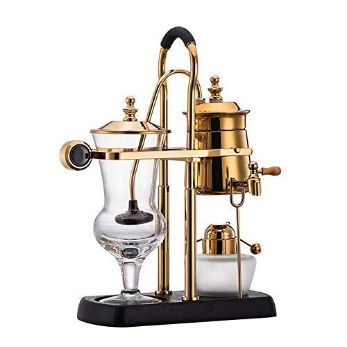 COOLSHOPY. Vakuum-Kaffeemaschine Syphon Kaffeemaschine Syphon Kaffeemaschine Haushalt Kaffee-Set Hand Made Kaffeekanne Set Kaffee Appliance (Farbe: Gold, Größe: 35.5x23.5x10cm)