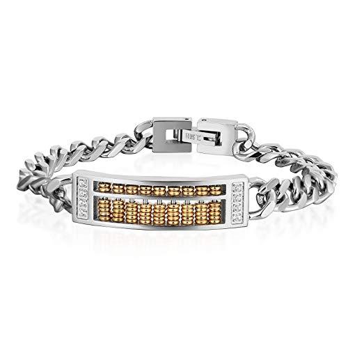 Daesar Herren Damen Armband Edelstahl Abacus Panzerkette Wickelarmbänder Silber Gold Parterarmband 17 cm