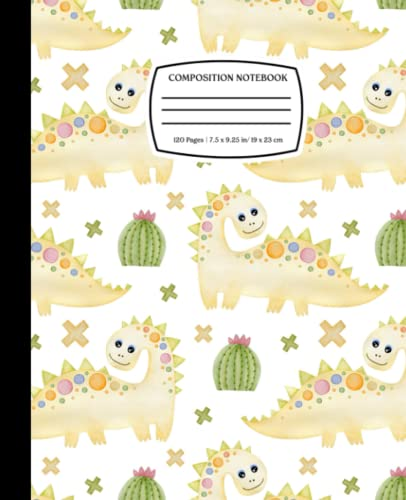 Cute Stegosauria Pattern: Dinosaur Composition Notebook Journal for Kids, Teens, Adult | 120 Pages | Wide Ruled | 7.5 x 9.25