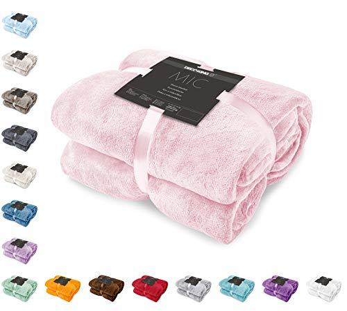 DecoKing Kuscheldecke 150x200 cm rosa Decke Microfaser Tagesdecke Fleece weich sanft kuschelig pink puderrosa powderpink Mic