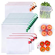 GOGOODA 15 Pcs Premium Reusable Produce Bags, 3 Size Lightweight Washable See Through Mesh Shopping Merchandise Bags with Drawstring, Toggle Tare Weight Color Tag (3 Large 9 Medium &3 Small), White