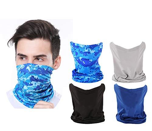 StarSea Pack de 4 Protectores de Cuello Transpirables Polainas UV Protector Solar, Banda elástica Unisex Cubierta de enfriamiento para Ciclismo Pesca Caza