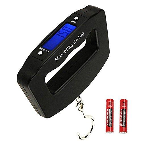 HANWELL Elektronische Gepäckwaage mit 4 untis (Kg /g /oz), 50kg Tragbare Handheld Travel Hängewaagen mit Hintergrundbeleuchtung Display /Tare/Data Hold Funktion (Batterien enthalten)