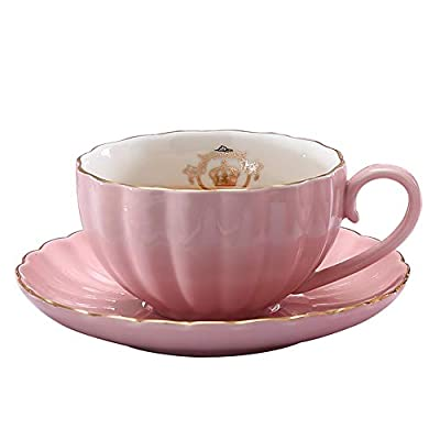 Heasa Porcelain British Royal Series Single Tea Coffee Cup with Saucer, 8 Ounce Cappuccino cup, Latte cup, Expresso Mug(Pink for one)