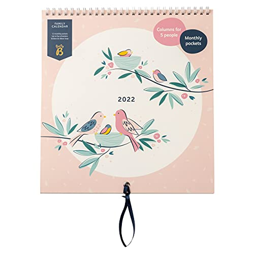 Busy B Family Monthly Calendar January to December 2022. Birds Family Calendar 2022 with 6 Column Layout for Family schedules & Birthdays, Monthly Pockets, Stickers & Holiday Planner