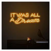 「それはすべて夢だった」ネオンサイン、カスタムネオンライトLEDピンクの家の部屋の壁の装飾バーショップの装飾 (Color : Orange, Size : Width 60CM)