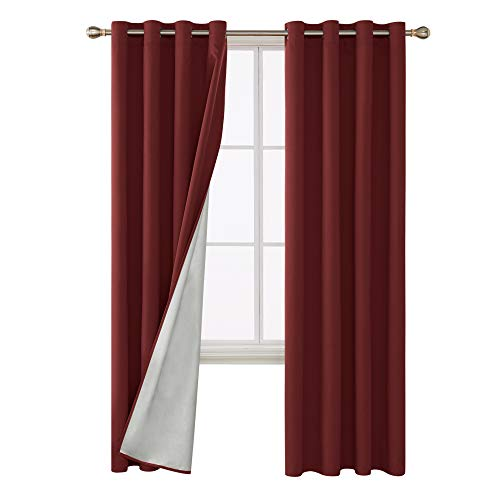 Deconovo Red Thermal Insulated Blackout Curtains with Silver Coating Blackout Panels for Kitchen 52W x 84L inch Red 2 Panels
