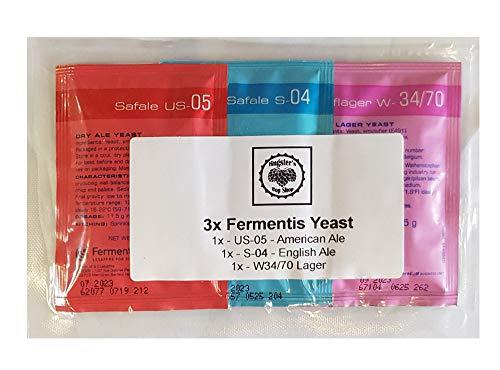 Paquete de 3 levaduras de fermentis   1 bolsa de polvo seco activo US-05   1 S-04 English Ale   1 x W-34/70 Lager   11,5 g de polvo seco activo   Multi Pack   cerveza casera y fermentación de mosto