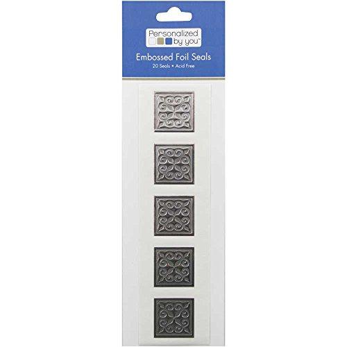 JAM Paper Embossed Square Foil Envelope Seals - Silver - 20/Pack