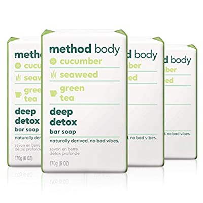 Method Bar Soap, Deep Detox, 6 oz, 4 pack, Packaging May Vary from Method Products Inc