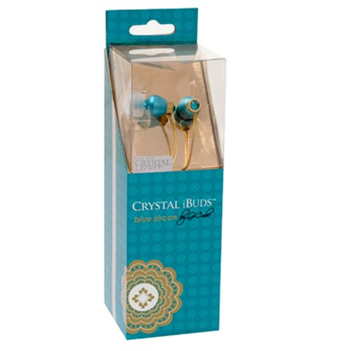 Swarvoski Crystal iBuds by G-Cube IB990T Blue Zircon Color Earbud Fully Faceted Xilion - Cut Swarovski Element, Enhanced Bass Driven Sound 10MM Speaker Tangle Free Cable