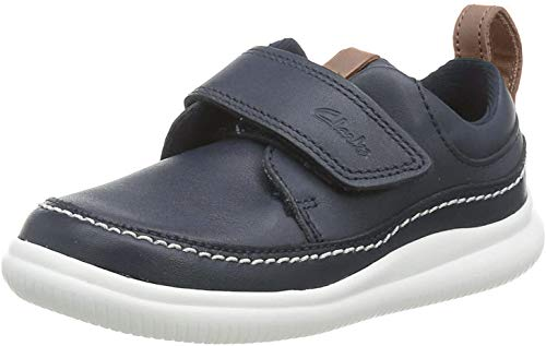 Clarks Jungen Cloud Ember T Sneaker, Blau (Navy Leather), 26 EU