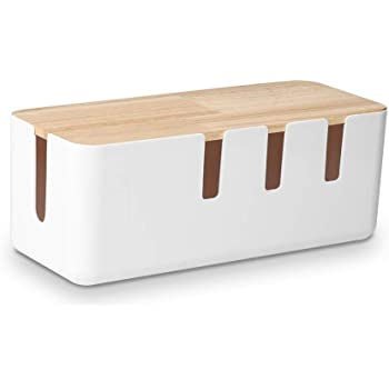Baskiss 電源タップ & ケーブルボックス テーブルタップ収納ボックス 天然木&樹脂製 ホワイト
