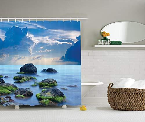 lovedomi Cortina de ducha de tela de poliéster impermeable con 12 ganchos de plástico, con piedras de mar y misterioso mar caribeño