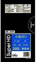 【お買得】HHJ 業務用 ポリ袋 小型 7L 黒 0.010mm×320×380 6000枚 200枚×30冊入 GH07