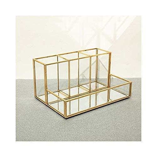 ZEIYUQI Kosmetik Organisieren Klares Make-up Organizer Glas Make-up Pinselhalter Schmuck Kosmetische Parfums Organizer Tablett (Gold A),Gold C