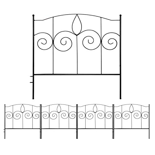 Gray Bunny Decorative Garden Fence for Landscaping, 24 in x 10 ft, 5 Black Panels, Rust Proof Metal Movable Wire Border Picket Folding Decor Garden Edging Fences for Flower Bed & Pet Barrier