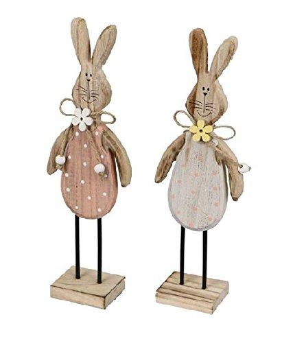 Decpero houten haas met stippen / 2 stuks / 7,5 x 4 x 23 cm/pastelkleuren