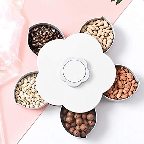 Drehbares Nüsse Tablett,Süßigkeiten Datenträger Speichern,Intervall Stil Blumenblatt-geformter Frucht-Teller