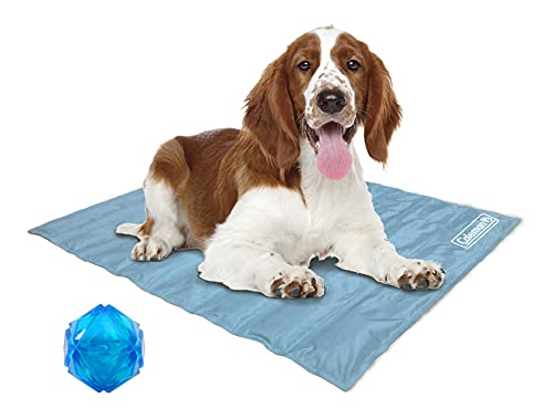 Coleman Dog Cooling Mat with Toy, Pressure Activated Gel Pad, Cool Pet Bed for Summer, Blue, 24