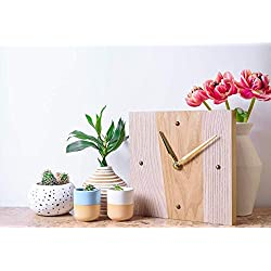 Wall Clock Wood Small Battery Operated Non- Ticking Quartz