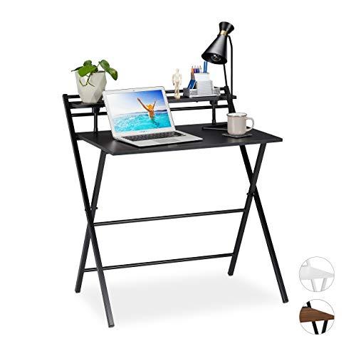 Relaxdays Schreibtisch klappbar, platzsparender Bürotisch, Ablage, Home Office, Jugendzimmer, 92 x 84 x 60 cm, schwarz, PB, Eisen
