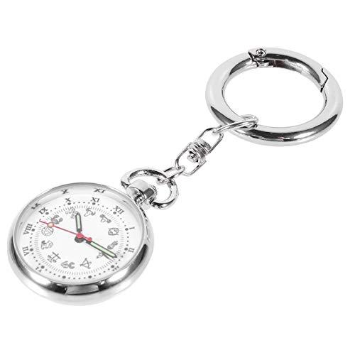 Tomaibaby Enfermera Reloj de Bolsillo Enfermera Solapa Pin Reloj Médicos Relojes de Bolsillo Fob Reloj Enfermera Reloj Llavero con Llavero para Regalo de Enfermera (Plata)