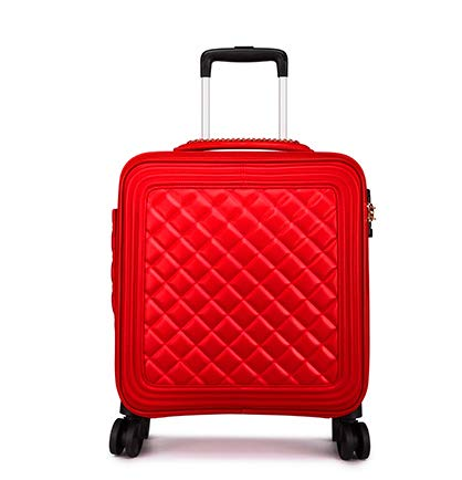 TUW 18/20/24 inch ladies fine-tuning leather trolley bag cabin travel suitcase hand luggage set carry-on luggage wheels 2PCS / SET,H02 red,18'