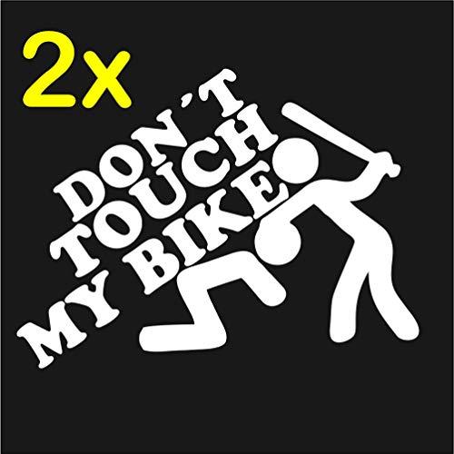 Dr.Shield Don't Touch My Bike Aufkleber Motorrad Sticker JDM Fun Wetterbeständig (Weiß)