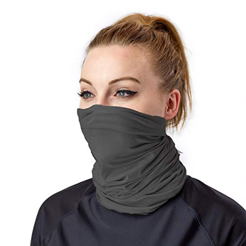 UV SKINZ UPF 50+ Bamboo UV Neck & Face Covering - UV and Dust Protective, Breathable, Reusable Cloth Face Mask and Neck Gaiter (Charcoal, S/M)
