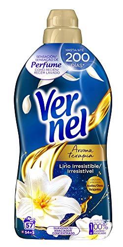 Vernel Suavizante Concentrado para la Ropa Aromaterapia Aceite de Jazmín y Lirio - 54+3 Lavados, 1.140 L