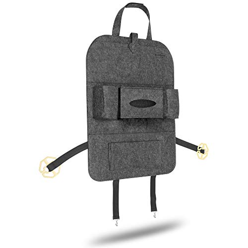 Saltibo Rückenlehnentasche | Utensilientasche | Autositzschoner für Kinder | Auto Organizer | Aufbewahrung von Bücher, Handy, iPhone, Tablet, iPad - DUNKELGRAU