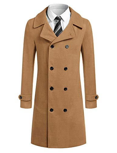 JINIDU Men Trench Coat Wool Blend Double Breasted Winter Classic Long Pea Coat