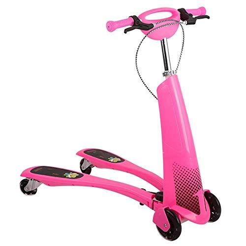 CYGJ Plástico Abs Base Scooter Freestyle con 4 luz LED Intermitente Ruedas de PU,Rosado Plegable Scooter para Ninos para Niños Mayores de 3 Años